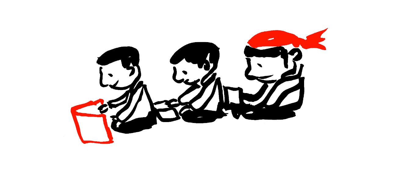 Dessin de trois enfants en train de lire